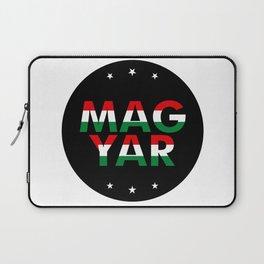 Magyar, circle, black, with stars Laptop Sleeve