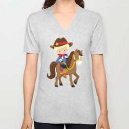 Little Cowboy, Cowboy On Brown Horse, Blond Hair Unisex V-Neck