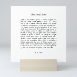 Live, life, love. Mini Art Print