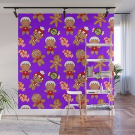 Cute Christmas seamless pattern. Happy festive gingerbread men and sweet xmas caramel candy. Wall Mural