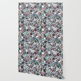 MIXED GEMSTONES ON WHITE Wallpaper