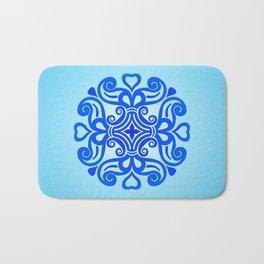 HUNGARIAN ORNAMENTS - Femininity mandala in blue Bath Mat