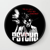 psycho Wall Clocks featuring Psycho by PsychoBudgie