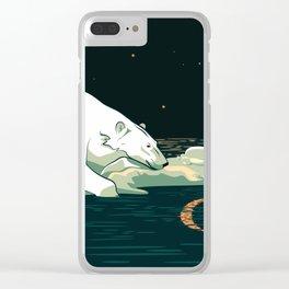 Polar Bear and the Moon Clear iPhone Case