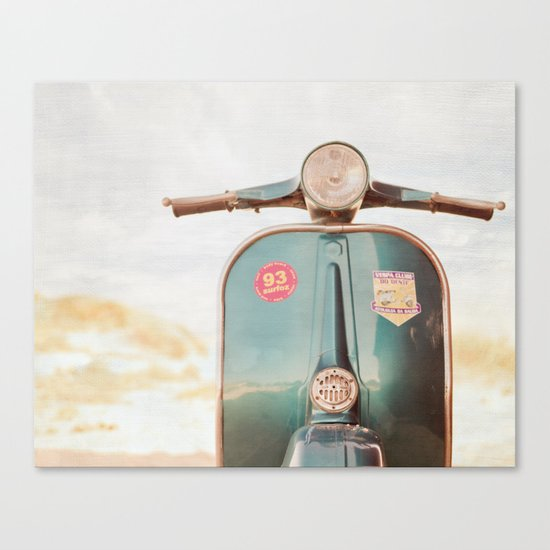 The Blue Vespa Canvas Print