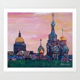 Saint Petersburg with golden couples Art Print