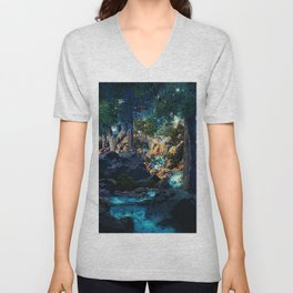 Doctrine of Divine Light by Maxfield Parrish Unisex V-Neck