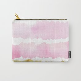 Pink and Gold Bold Watercolor Brush Strokes Carry-All Pouch