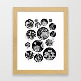 Flowers pattern ink art black and white Framed Art Print