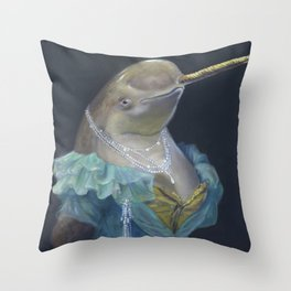 MADAME NARWHAL, by Frank-Joseph Throw Pillow
