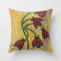 Ladybug Flowers Throw Pillow