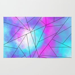 Teal Purple Abstract Watercolor Triangle Geometric Rug