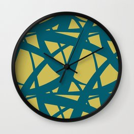 Tropical Dark Teal Abstract Mosaic Pattern 3 Inspired by Sherwin Williams 2020 Trending Color Oceanside SW6496 on Dark Yellow Wall Clock
