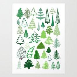holiday trees! Art Print