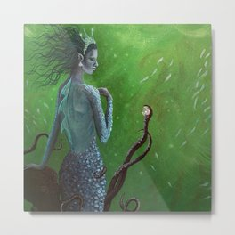 The Mermaid and the Octopus Metal Print