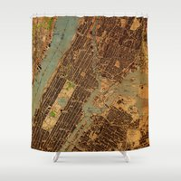 central park Shower Curtains featuring Central Park map by Larsson Stevensem