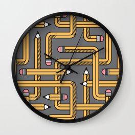 Pencil Maze Pattern pastel grey yellow Wall Clock