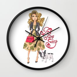 Girl with Bulldog Wall Clock
