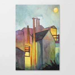 Rear Window Watercolor  Night Lights and Fog Print Canvas Print