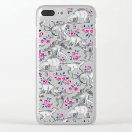Dinosaurs and Roses - white Clear iPhone Case