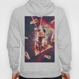 Space Cat Eating Pizza - Rainbow Laser Eyes, Burrito Hoody