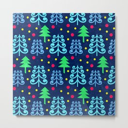 Christmas trees pattern Metal Print