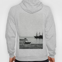 ships on a calm sea black and white Hoody