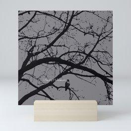 Happy Halloween spooky tree, black and gray Mini Art Print