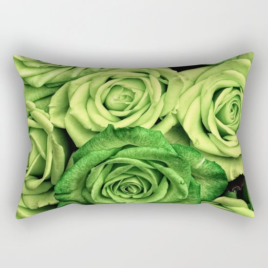 Green Roses Rectangular Pillow