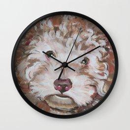 Bichon Poodle Cocker Mix Contemporary Pet Portrait Wall Clock