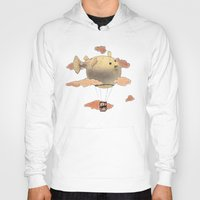 gorillaz Hoodies featuring Panda fliying in a Blow fish 2 by Barruf