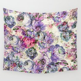 Vintage bohemian rustic pink lavender floral Wall Tapestry