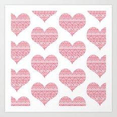 Patterned Hearts Pattern Art Print