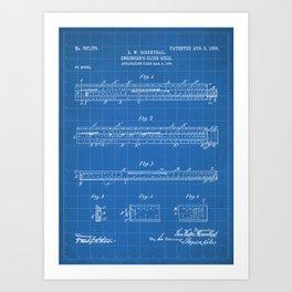 Engineering Patent - Engineers Slide Rule Art - Blueprint Art Print