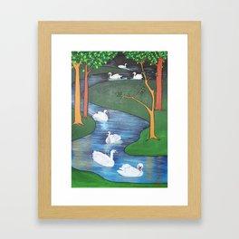 A Flock of Seven Swans-A-Swimming Framed Art Print