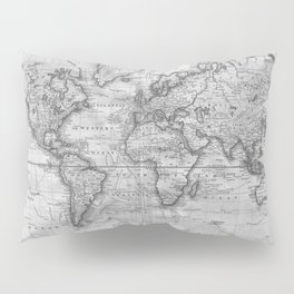 Black and White World Map (1801) Pillow Sham