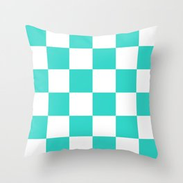 Large Checkered - White and Turquoise Throw Pillow