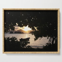 Sunset framed by leafs Serving Tray