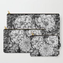 Dahlias & Peonies Black Carry-All Pouch