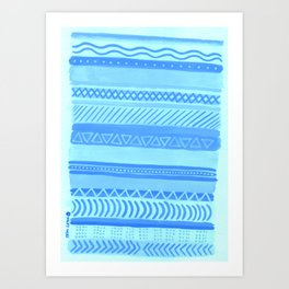 Tribal#1 (Blue) Art Print