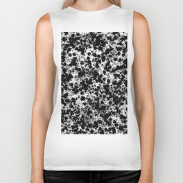 Peppered - Abstract, black and white paint splats Biker Tank