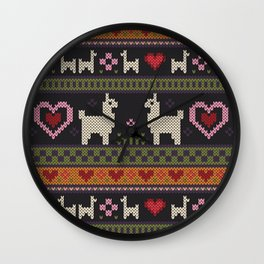 Llama Love Knit Wall Clock