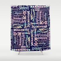 heavy metal Shower Curtains featuring HEAVY METAL MACHINE by Riot Clothing