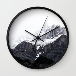 Moody snow capped Mountain Peaks - Nature Photography Wall Clock