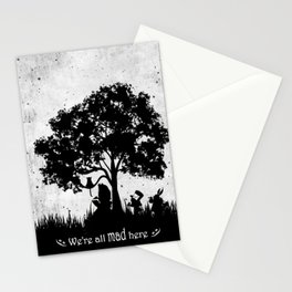 We're All Mad Here Alice In Wonderland Silhouette Art Stationery Cards