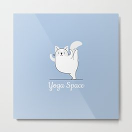 Yoga Space Cat II Metal Print