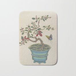 Vintage Chinese Bonsai Botanical Ink and Brush Painting-Flowers and Birds Bath Mat