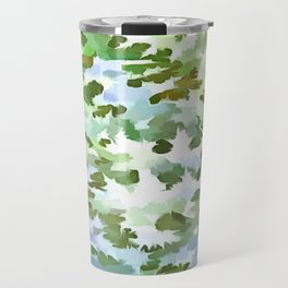 Foliage Abstract Pop Art In White Green and Powder Blue Travel Mug