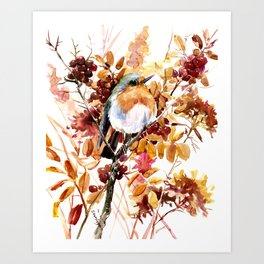 Robin Bird and Colors of Fall Art Print