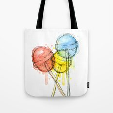 Lollipop Red Blue Yellow Candy Food Watercolor Tote Bag